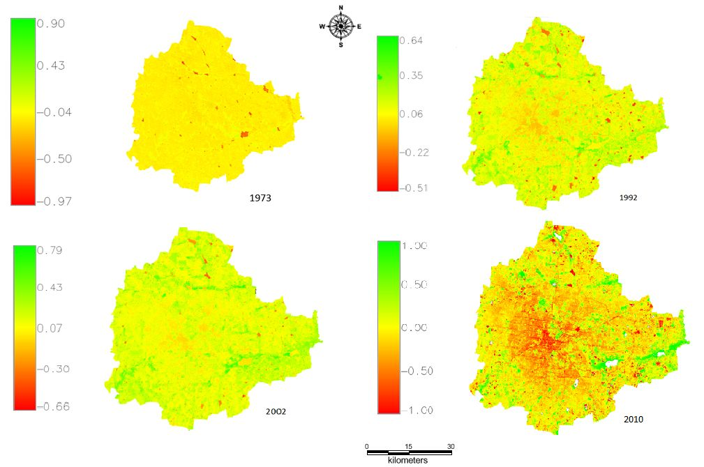 Figure illustrates that area under vegetation has declined from 72% (488 sq.km in 1973) to 21% (145 sq.km in 2010).