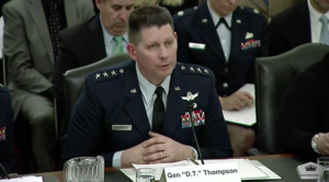 Lt. Gen. David Thompson, vice commander of Air Force Space Command testifying in front of the Senate Armed Services Committe's strategic forces subcommittee.