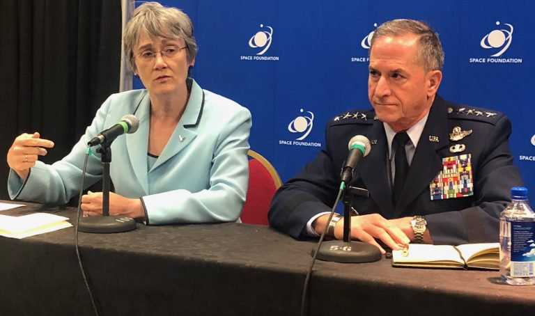 Air Force Secretary Heather Wilson and Gen David Goldfein announcing the demonstration of a Space Weapon at the 35th Space Symposium in Colorado Springs, Colorado