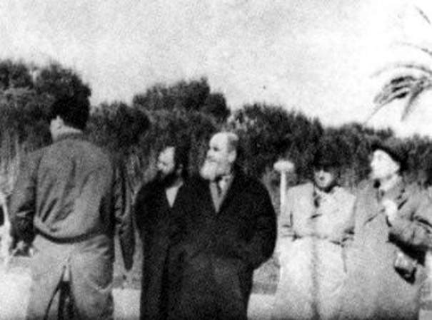 Khomeini in exile at Bursa, Turkey without clerical dress
