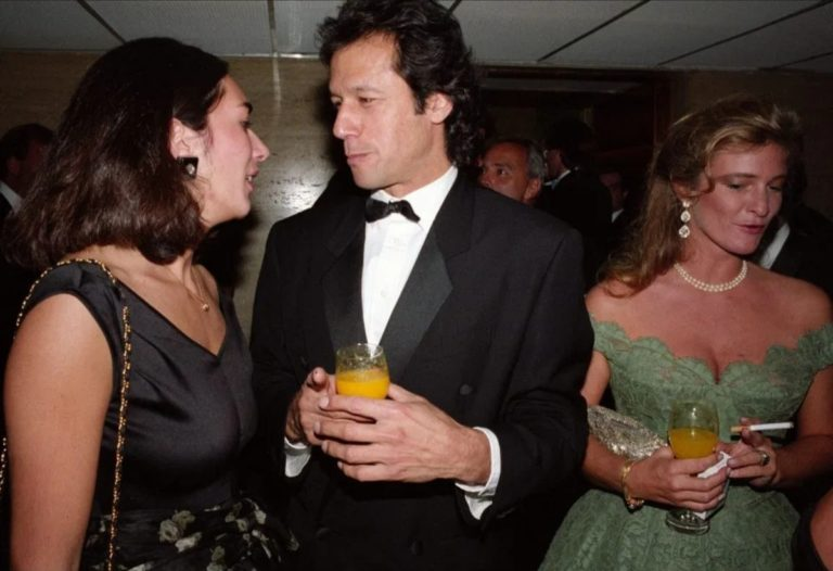 Ghislaine Maxwell (Jeffrey Epstein's business partner/madame managing his high-profile clients and the daughter of Israeli spy Robert Maxwell) with Imran Khan and Taki Theodoracopulos at a party to mark the fall of communism at the Savoy Credit: Rex Features