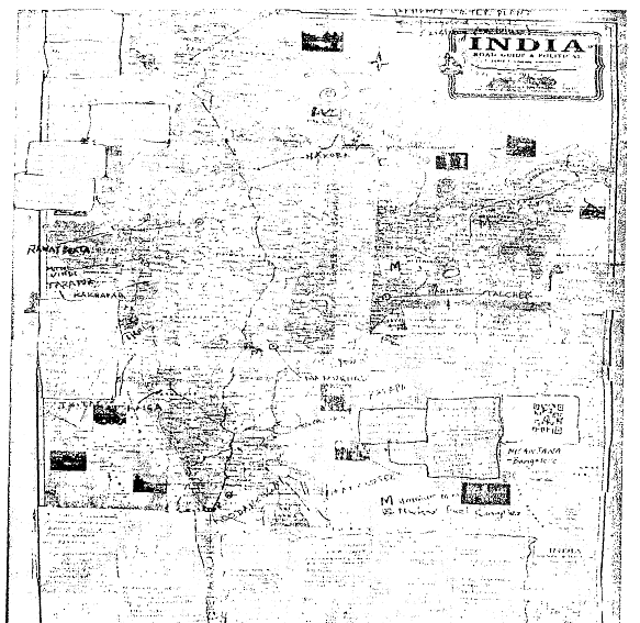 Map acquired from a German spy by the Intelligence Bureau with 16 nuclear plants (existing or proposed) and five uranium mine locations marked prominently.