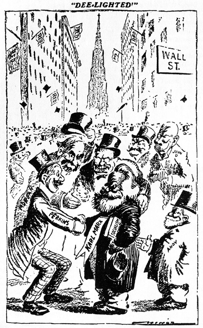 Deelighted - Wall Street financing Karl Marx, cartoon by Robert Minor