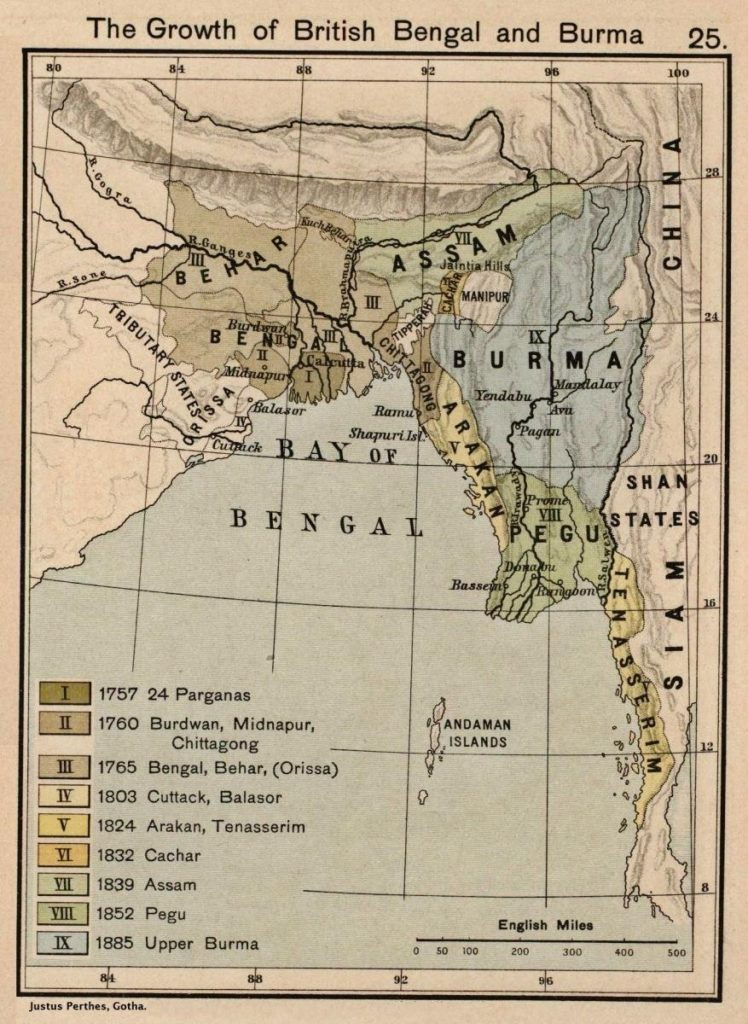 Geographical evolution of British Bengal and Burma