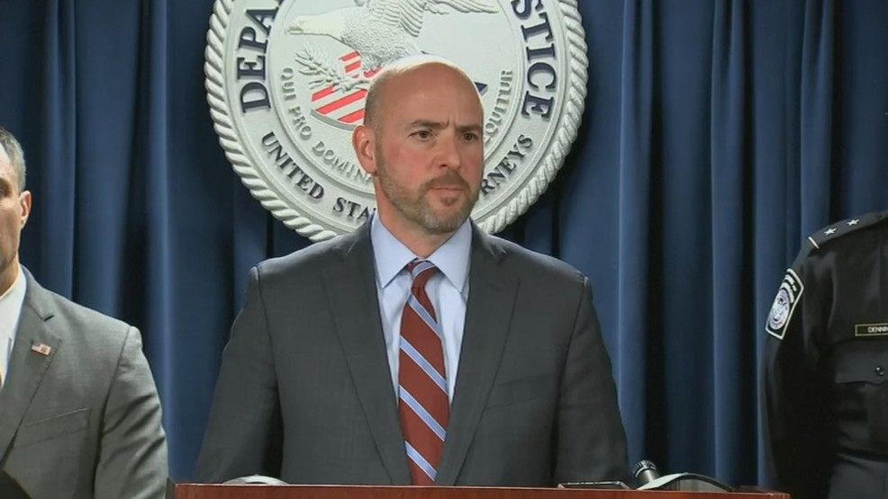 Andrew Lelling, the U.S. attorney for Massachusetts, announces charges against a Harvard University professor accused of lying about his ties to China. (WJAR/Pool)