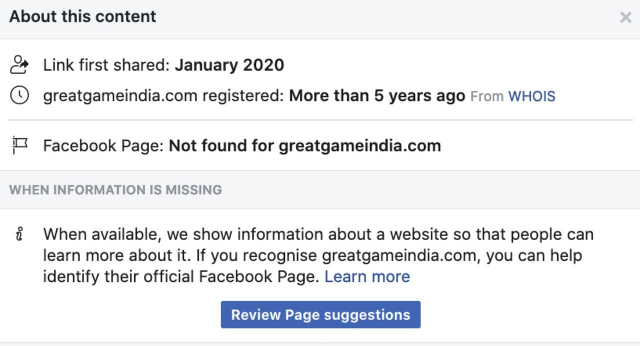 Facebook blocks GreatGameIndia for Coronaviruses Bioweapon story