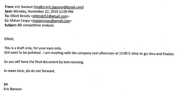 Email exchange between Elliott Broidy and Eric Banoun involved in NSO Group deal