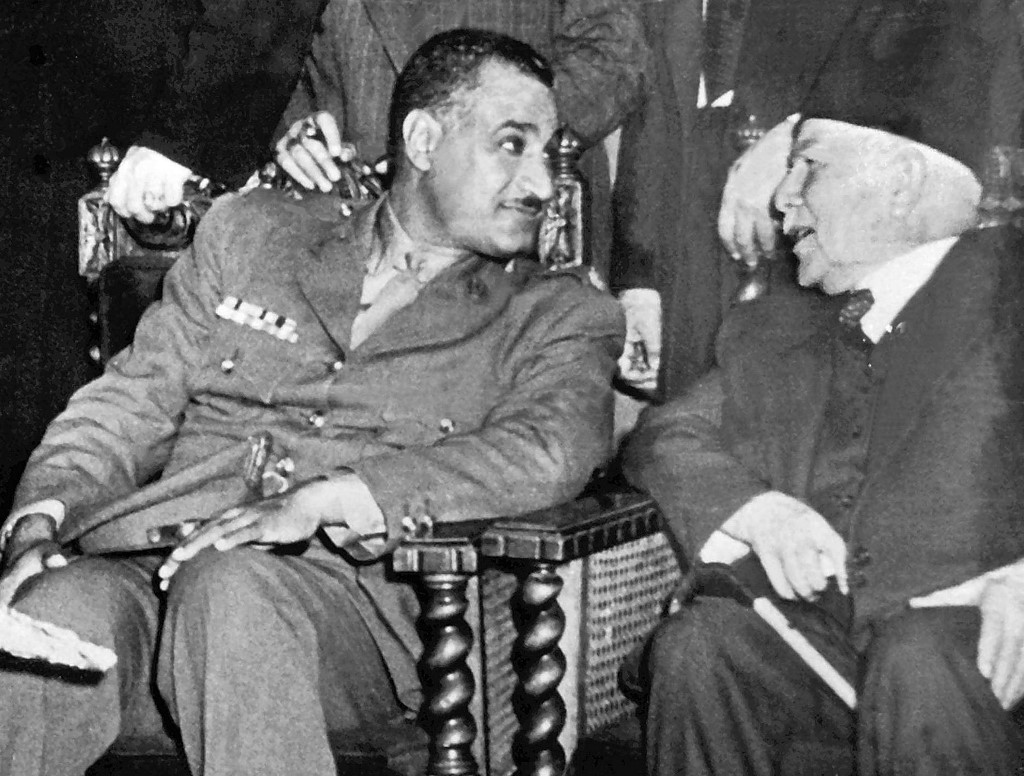 A picture from the 1950s shows Egyptian President Gamal Abdel Nasser (L) with Syrian Prime Minister Fares al-Khoury in Cairo. (AFP)