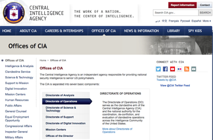 The National Clandestine Service (NCS) or the Directorate of Operations (DO) serves as the clandestine arm of the Central Intelligence Agency (CIA) and the national authority for the coordination, de-confliction, and evaluation of clandestine operations across the Intelligence Community of the United States.