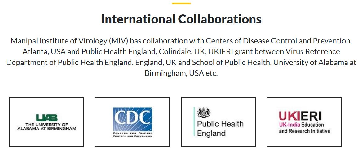 Manipal Center of Virus Research collaboration with US CDC