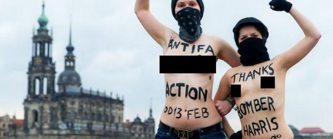 Feminist ANTIFA activists hold naked protest praising Bomber Harris in the middle of DRESDEN