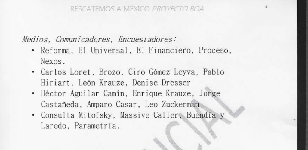 The list of sympathetic anti-AMLO media outlets and journalists in the BOA document