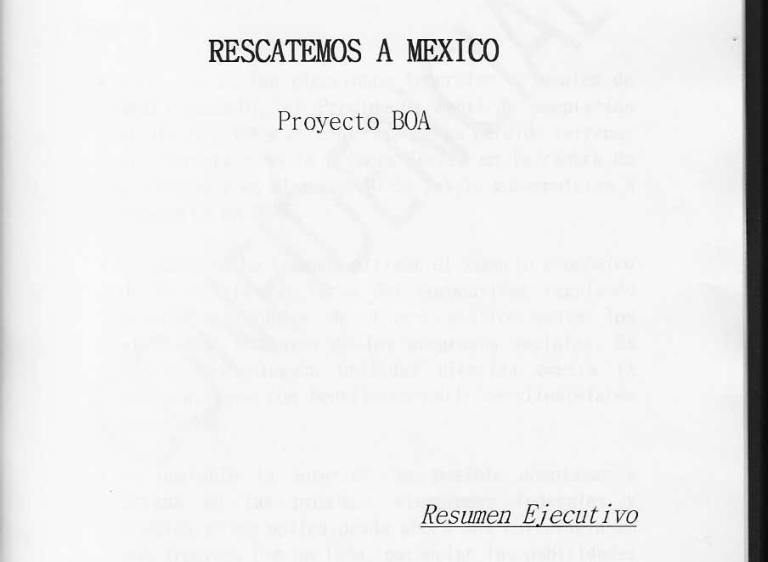 "The cover of the leaked document, the executive summary of the Project BOA plan, ""Let's Save Mexico"""