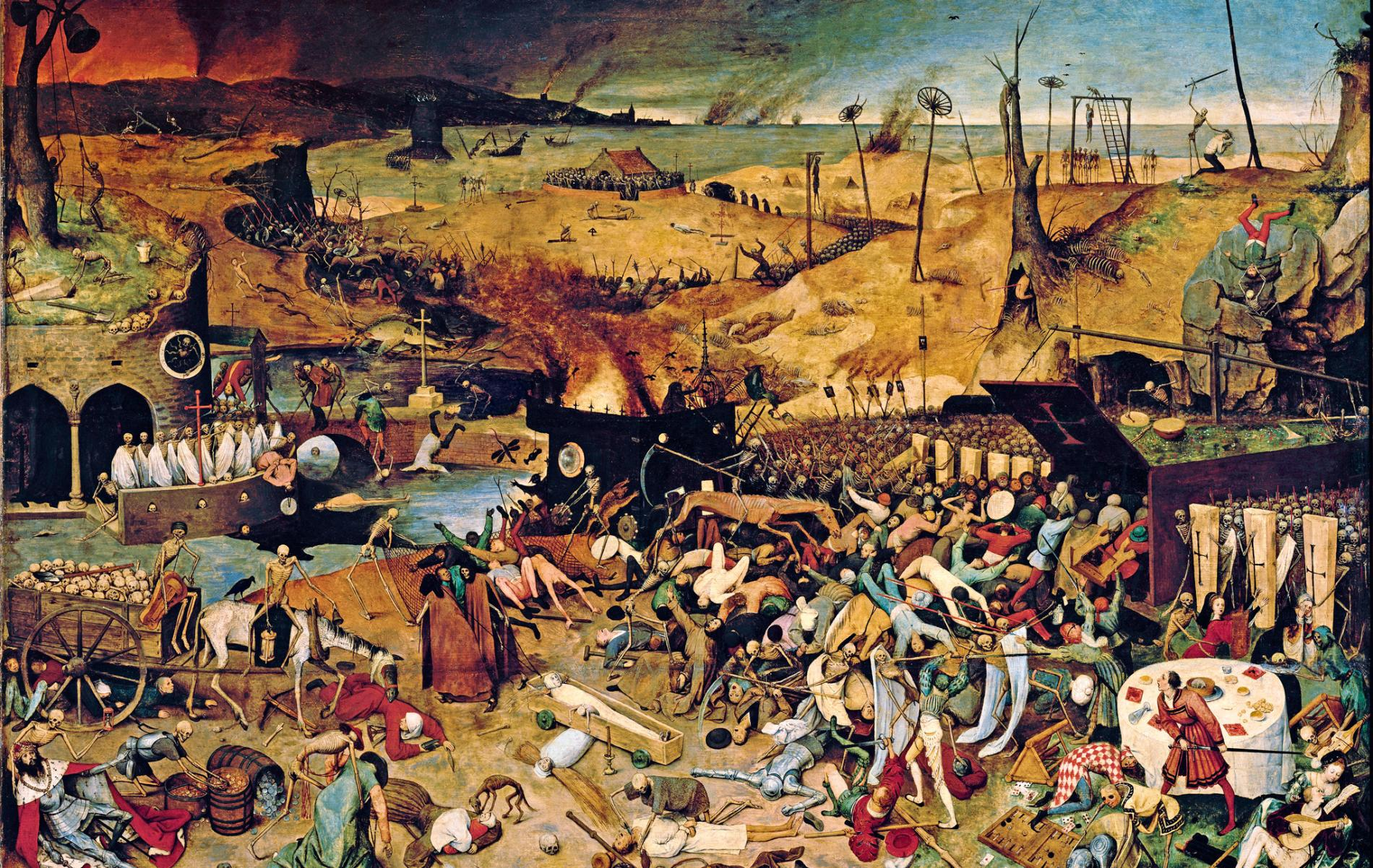 Pieter Bruegel's The Triumph of Death reflects the social upheaval and terror that followed plague, which devastated medieval Europe.
