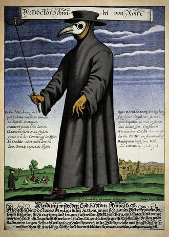 A plague doctor and his typical apparel during the 17th Century Outbreak.