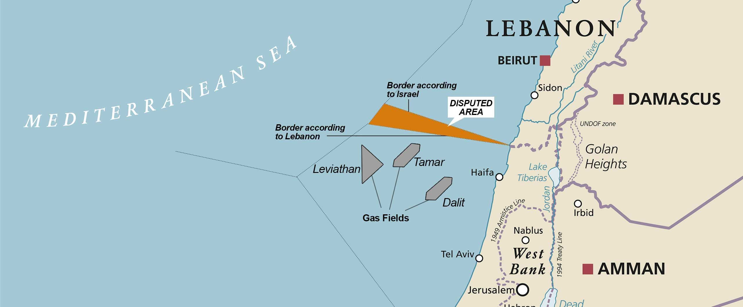 Disputed Oil Block 9 between Lebanon and Israel