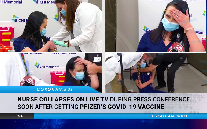 Nurse Collapses On Live TV During Press Conference Soon After Getting Pfizer's COVID-19 Vaccine